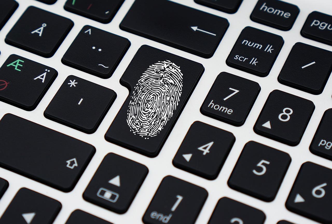 image: laptop keyboard with fingerprint
