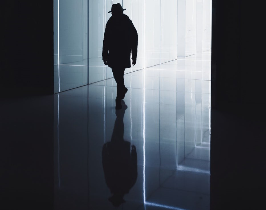 image: shadow of person walking through glass light tunnels